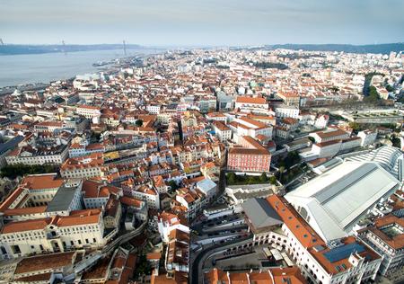 Aerial view of Bairro Alto, Lisbon, Portugal