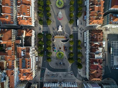 Top view of Dom Pedro IV Square in Rossio, Lisbon, Portugal
