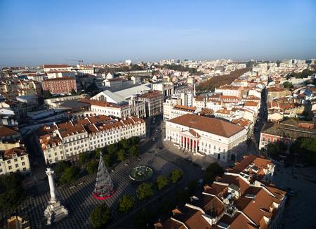 Aerial view of Dom Pedro IV Square in Rossio, Lisbon, Portugal