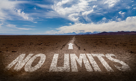 No limits written on desert background Stock Photo