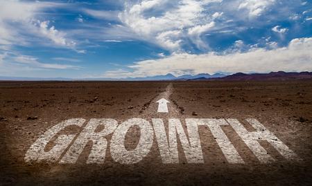 Growth written on desert background Stock Photo