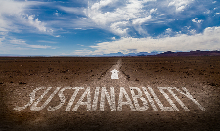 sustain: Sustainability written on desert background