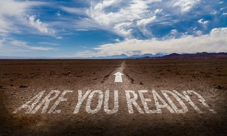 Êtes-vous prêt? écrit sur fond désert Banque d'images