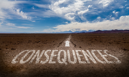 Consequences written on desert background Stockfoto
