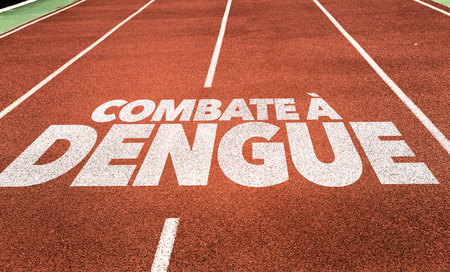 Combate à dengue (defenderse contra el dengue en portugués) escrita en el fondo corriente de pista Foto de archivo - 65025171