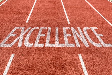 excellent service: Excellence written on running track background Stock Photo