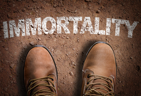 immortality: Text on road with boots background: Immortality