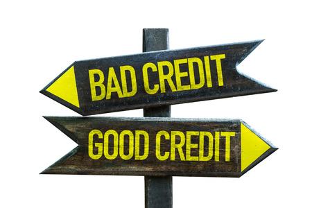 Bad Kredit  Gute Kredit Schild mit Pfeil auf weißem Hintergrund Lizenzfreie Bilder