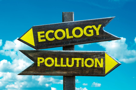 Text sign with arrow on clouds and sky background: EcologyPollution