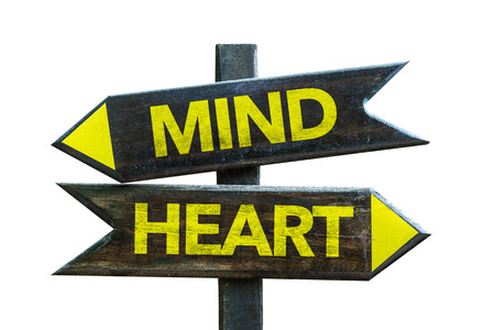 conflicting: Mindheart sign with arrow on white background