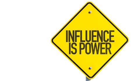 Influence is power sign on white background Фото со стока