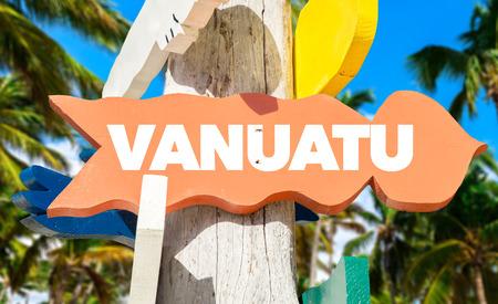 vanuatu: Vanuatu sign with beach background