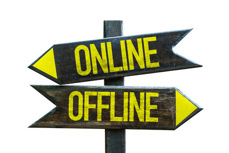 Onlineoffline sign with arrow on white background