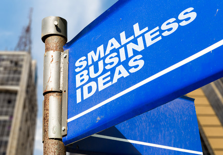 Small business ideas signpost on building background Stock Photo