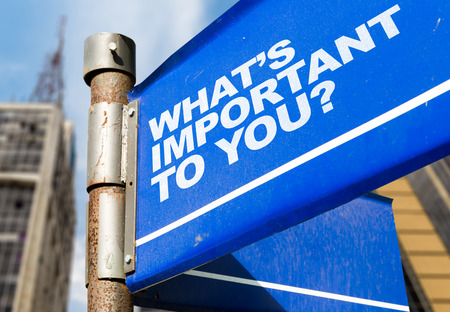 meaningful: Whats important to you? signpost on building background