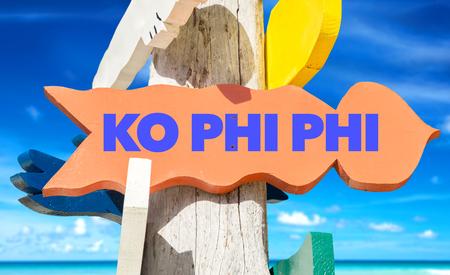 ko: Ko Phi Phi sign with beach background