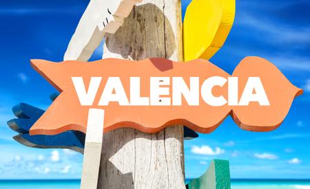 valencia: Valencia sign with beach background Stock Photo