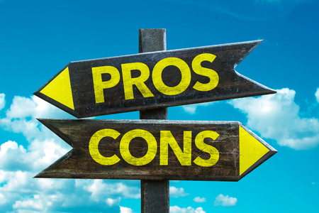 Text sign with arrow on clouds and sky background: Proscons Stock Photo