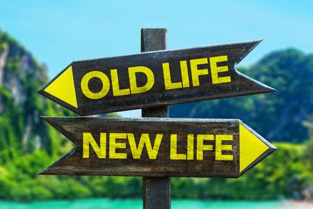 Old lifenew life sign with wetland background Reklamní fotografie