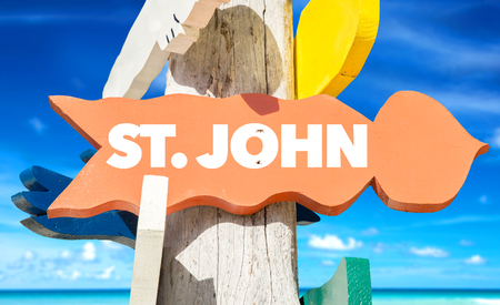 st john: St. John sign with beach background