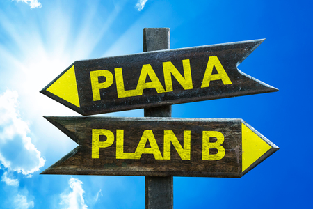 Plan APlan B sign with arrow on sunny background