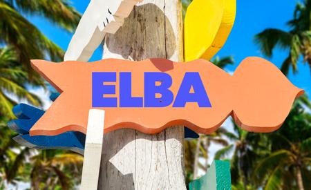 elba: Elba sign with beach background