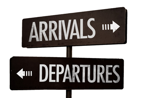 arrival: Arrivalsdepartures sign on white background
