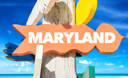 maryland: Maryland sign with beach background Stock Photo