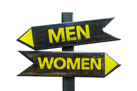 challenging sex: Menwomen sign with arrow on white background