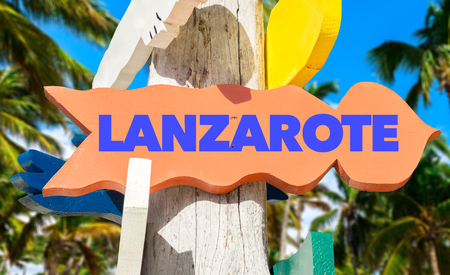 lanzarote: Lanzarote sign with beach background