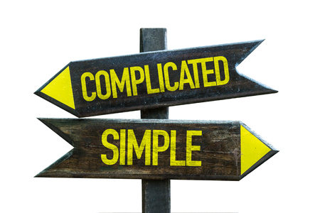 clear strategy: Complicatedsimple sign with arrow on white background Stock Photo