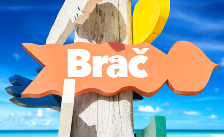 brac: Brac sign with beach background Stock Photo
