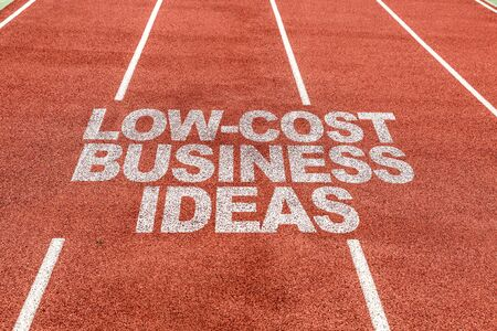 Running track with the word Low cost business idea