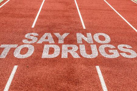 Running track with the word Say no to drugs