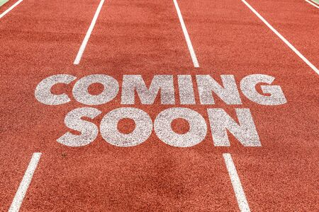 Running track with the word Coming soon Stock Photo