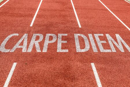 Running track with the word Carpe Diem