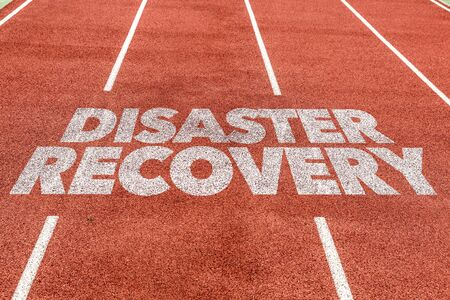 Running track with the word Disaster Recovery