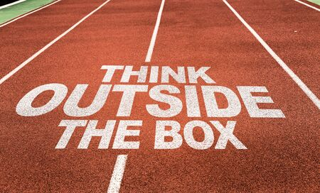 Running track with the words Think Outside The Box