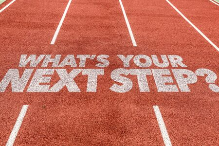Running track with the words Whats Your Next Step Stok Fotoğraf