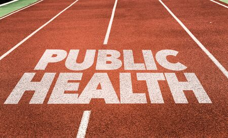 Running track with the words Public Health
