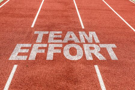 Running track with the words Team Effort