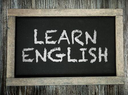 Learn English words on a blackboard Stock Photo