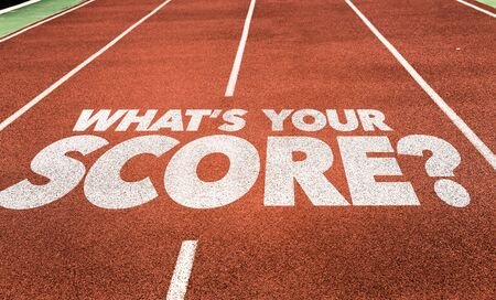 Running track with the words Whats Your Score Фото со стока