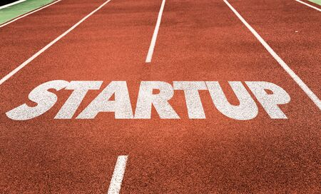 Running track with the word Startup