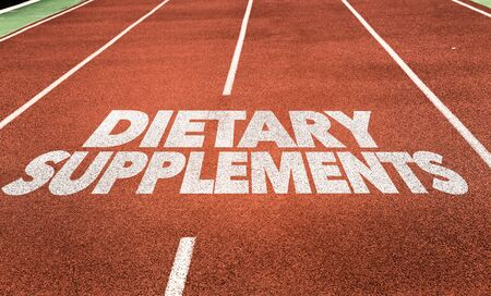 Running track with the words Dietary Supplements