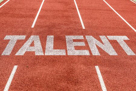 Running track with the word Talent Stock Photo - 128891715