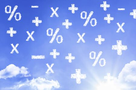 Mathematics symbols with sky concept