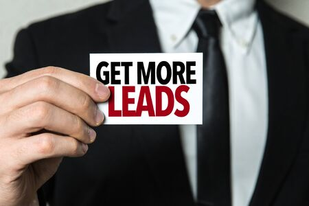 Man holding get more leads card