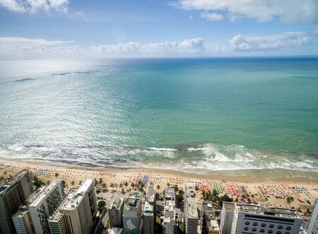 Top view of a beach by the city