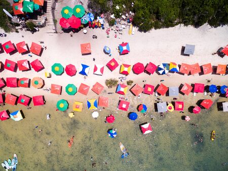 Top view of umbrellas in a beach in Recife